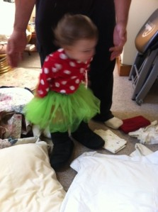Sophia wearing her new tutu and one of her aunt's boots