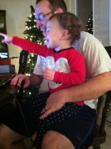 Sophia and I watching a special message from Santa