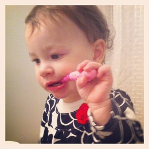 Caught brushing her teeth on her own.