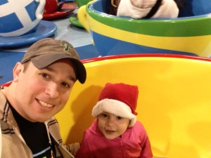 Sophia and I rockin' out on some tea cups at Sesame Place.