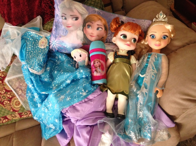 Just a small sampling of all the Frozen gifts Sophia got this year.